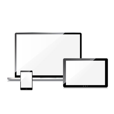 laptop: Blank screens set, isolated on white background