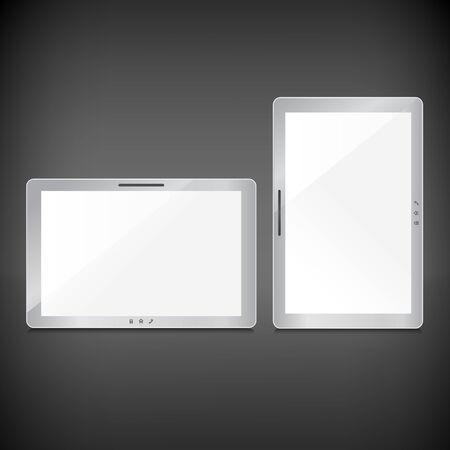 sliver: Realistic blank sliver screens set on dark background