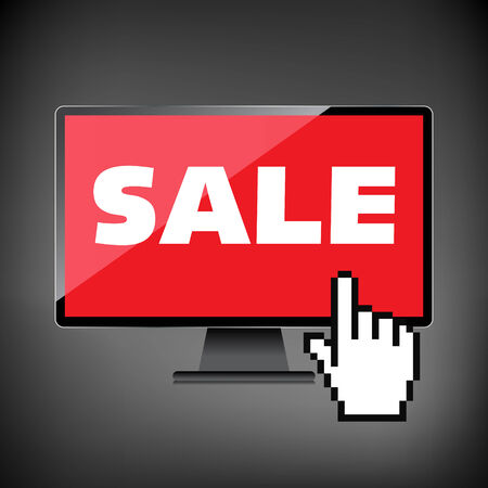 markdown: Sale, markdown, discount on High-quality computer display, monitor screen. Reduced Prices. Special offer. Shopping badge with percentage discount.