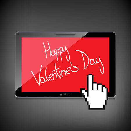 Valentine day web, modern concept. High-quality tablet screen. Vector