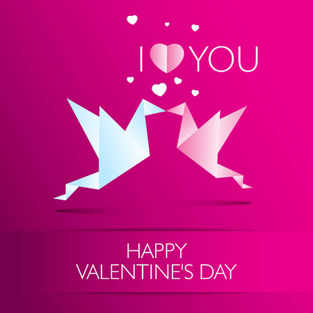 Love card Happy Valentines Day concept. Heart shape with shadow. Vector illustration  Vector