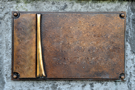 Grunge brass plate frame, empty space, blank background usage photo