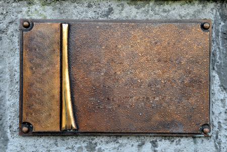 Grunge brass plate frame, empty space, blank background usage