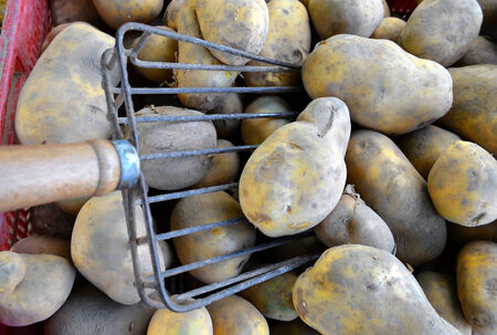 potatoes raw vegetables food for sale at farmers market. Background. photo