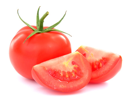 Fresh tomatoes with green leaves isolated on white background. High resolution color image. photo