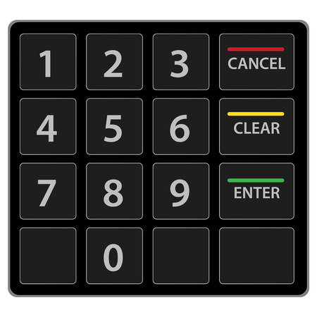 input device: Atm keypad isolated on white.