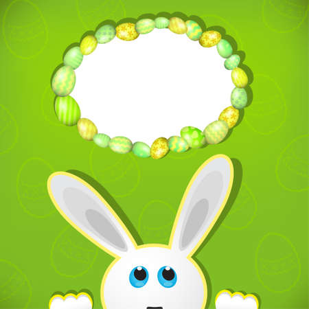 easter background: Easter bunny look up in blank space. Easter background. Illustration