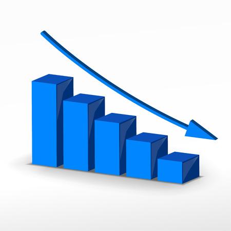 3 D 事業衰退グラフ。  イラスト・ベクター素材