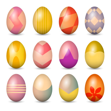Easter eggs set. Colorful vector illustration.  Vector