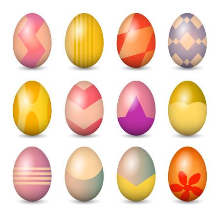 Easter eggs set. Colorful vector illustration.  Vector