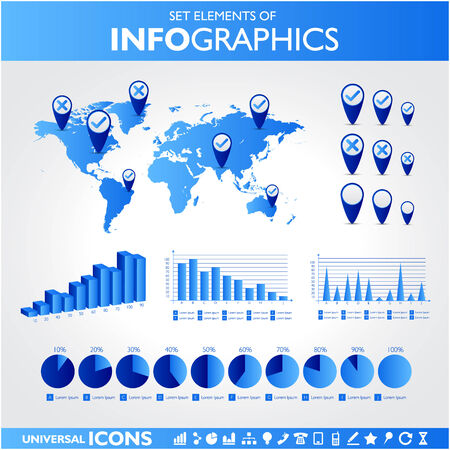 bar chart: Blue infographics. Universal vector icons set. Statistic. Illustration