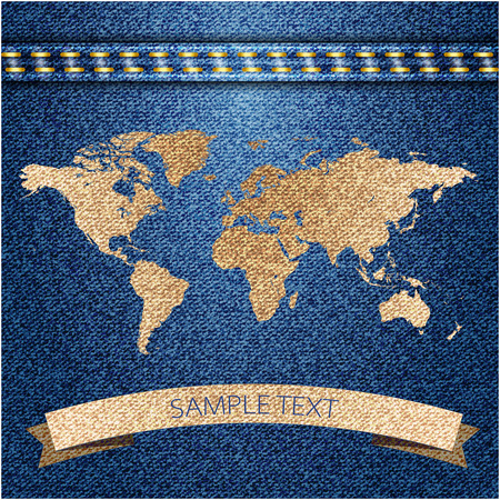 World map on jeans background texture. Vector