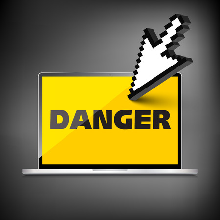 laptop screen: High-quality laptop screen with the text warning sign Danger Illustration