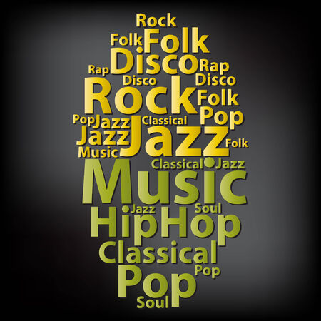 Text cloud. Music wordcloud. Typography concept.  Illustration