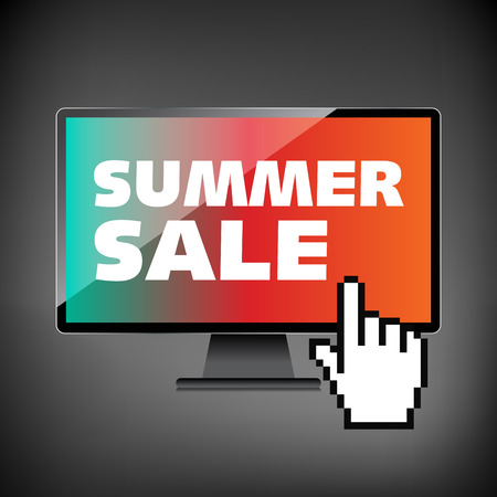 markdown: Summer sale words. Markdown, discount on High-quality computer display, monitor screen. Reduced Prices. Special offer. Shopping badge with percentage discount. Illustration