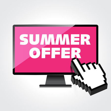 markdown: Summer offer words. Markdown, discount on High-quality computer display, monitor screen. Reduced Prices. Special offer. Shopping badge with percentage discount.