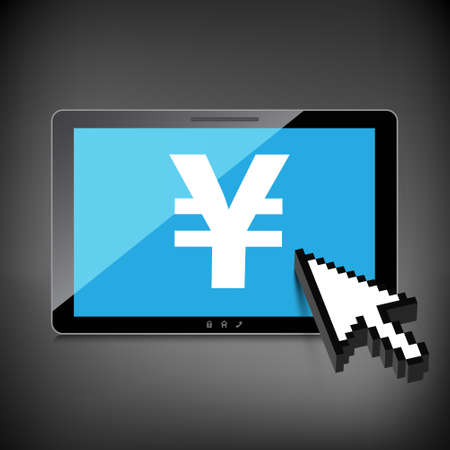 High-quality tablet screen with the Yen symbol. Economy concept. Vector