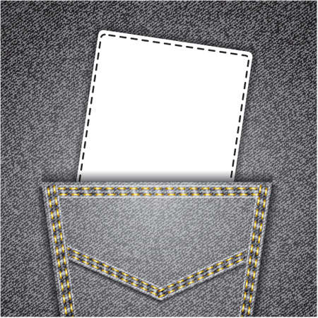 empty pocket: Etiqueta vac�a. Bolsillo de los vaqueros de espalda negro realista textura de mezclilla Vectores