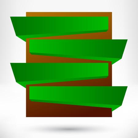 first form: Blank empty origami design element. Banner background.