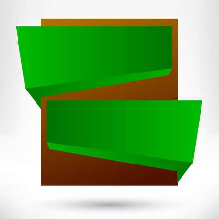 Blank empty origami design element. Banner background. Vector
