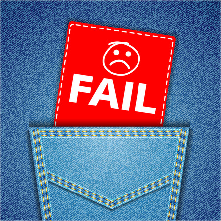 unaccepted: Fail tag. Blue back jeans pocket realistic denim texture
