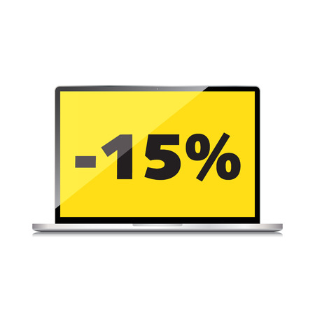 markdown: Sale, markdown, discount 15 percent on High-quality laptop screen. Reduced Prices. Special offer. Shopping badge with percentage discount.