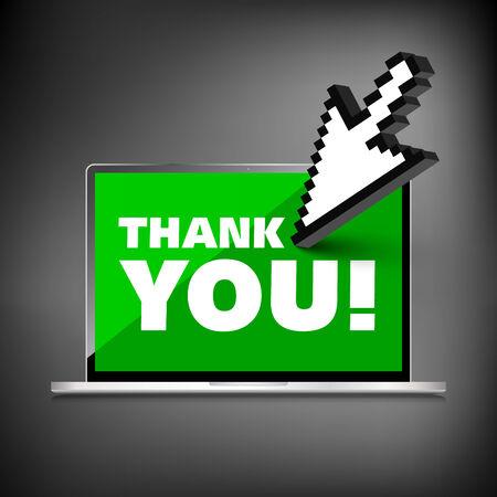 laptop screen: Thank you palabras se muestran en la pantalla del port�til de alta calidad.