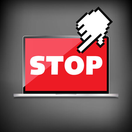 laptop screen: Stop word display on High-quality laptop screen. Illustration