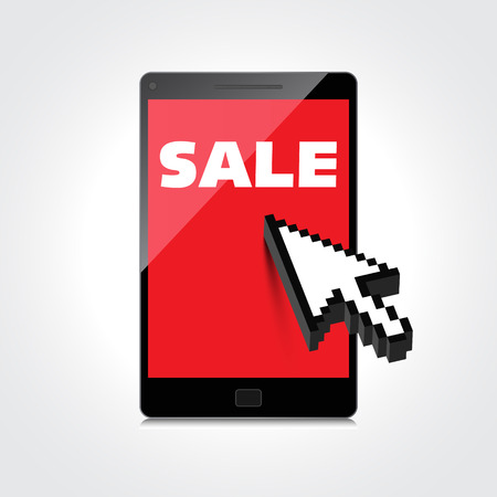 markdown: Sale, markdown, discount on High-quality smartphone screen. Reduced Prices. Special offer. Shopping badge with percentage discount. Illustration