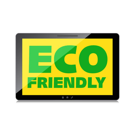 Eco friendly word on High-quality tablet screen. Think Green. Ecology Concept. Environmentally friendly planet. Vector