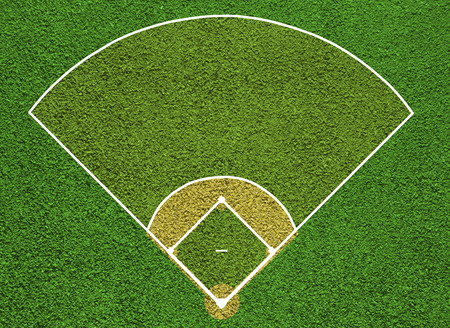 Baseball court. Top view field. Board background. photo