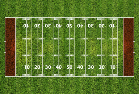 football pitch: American football field with hash marks and yard lines. Grass textured.