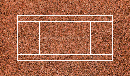 Tennis court. Top view field. Orange clay. photo