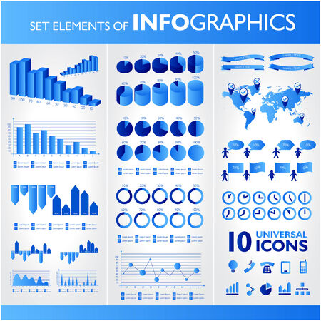 universal icons: Blue infographics. Universal vector icons set. Statistic. Illustration
