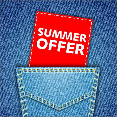 jeans pocket: Summer offer tag. Blue back jeans pocket realistic denim texture Illustration