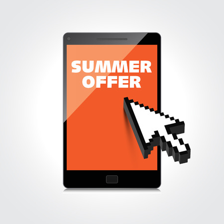 Summer offer words. Markdown, discount on High-quality laptop screen. Reduced Prices. Special offer. Shopping badge with percentage discount. Stock Vector - 29001621