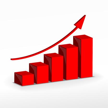 3 D の成長グラフ ベクトル ビジネス概念バー
