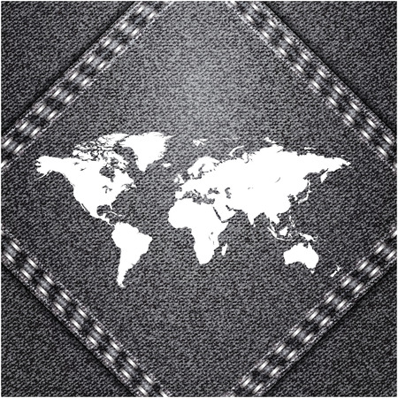 World map on jeans background texture  Vector  Vector