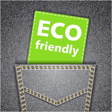 エコ フレンドリーなタグ ブラック バック ジーンズのポケットの現実的なデニム テクスチャ
