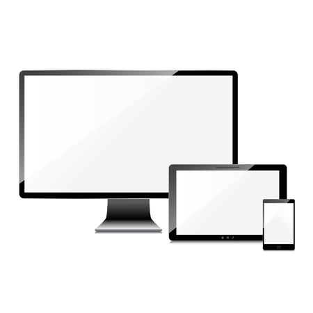 Blank screens set, isolated on white background Vector