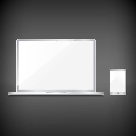 Realistic blank sliver screens set on dark background Stock Vector - 29001926