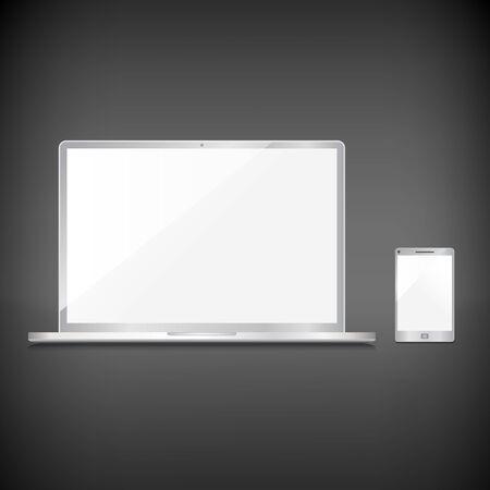 Realistic blank sliver screens set on dark background Stock Vector - 29001926