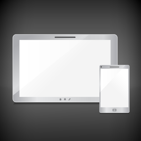 Realistic blank sliver screens set on dark background Stock Vector - 29001944