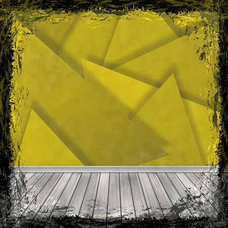 Yellow, Gold, grunge background. Old abstract vintage texture with frame and border. Stock Photo