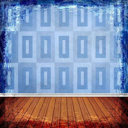 Blue grunge background. Old abstract vintage texture with frame and border. Stock Photo