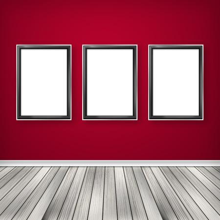 Three empty frames on a wall  photo