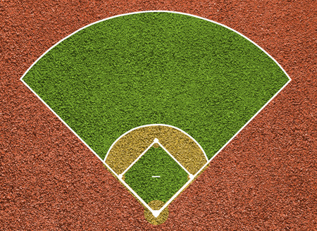 Baseball court. Top view field. Board background. Stock Photo