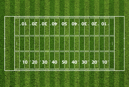football match lawns: American football field with hash marks and yard lines. Grass textured.