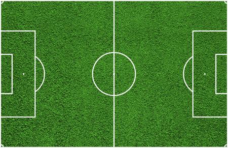 Bovenaanzicht van een voetbalveld of een voetbalveld
