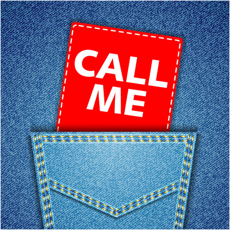 call me: Blue back jeans pocket realistic denim texture with call me tag Illustration